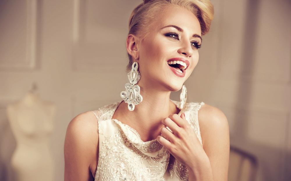 Closeup portrait of an elegant, smiling lady